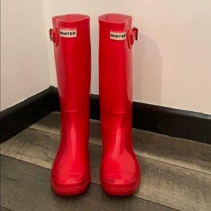 Hunter red bendable rubber rain boots sz 8